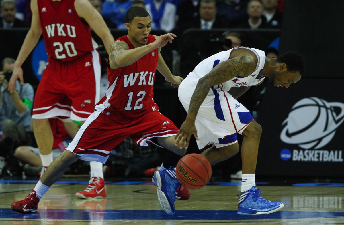 WKU junior guard Brandon Harris (#12) scrambles for the ball March 22 at the Sprint Center in Kansas City, Mo. WKU led 31-30 at half.