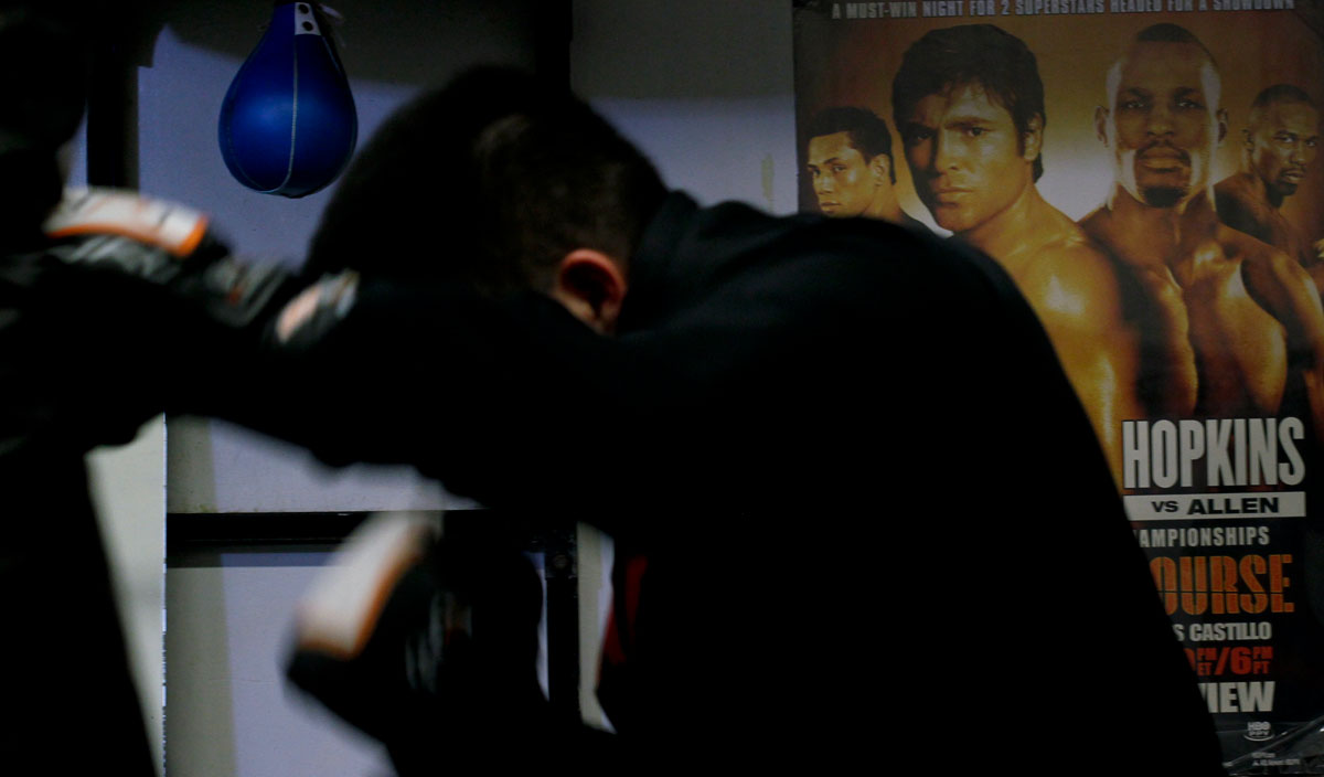 A boxer practices at La Habra Boxing Club in La Habra, Calif., Sept. 23.