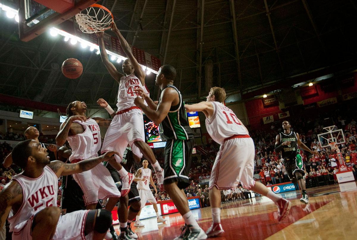 Senior Jeremy Evans slam dunks a basket during the second half of a game against the University of North Texas Jan. 28 in Diddle Arena. WKU lost to UNT 83-84 in overtime.