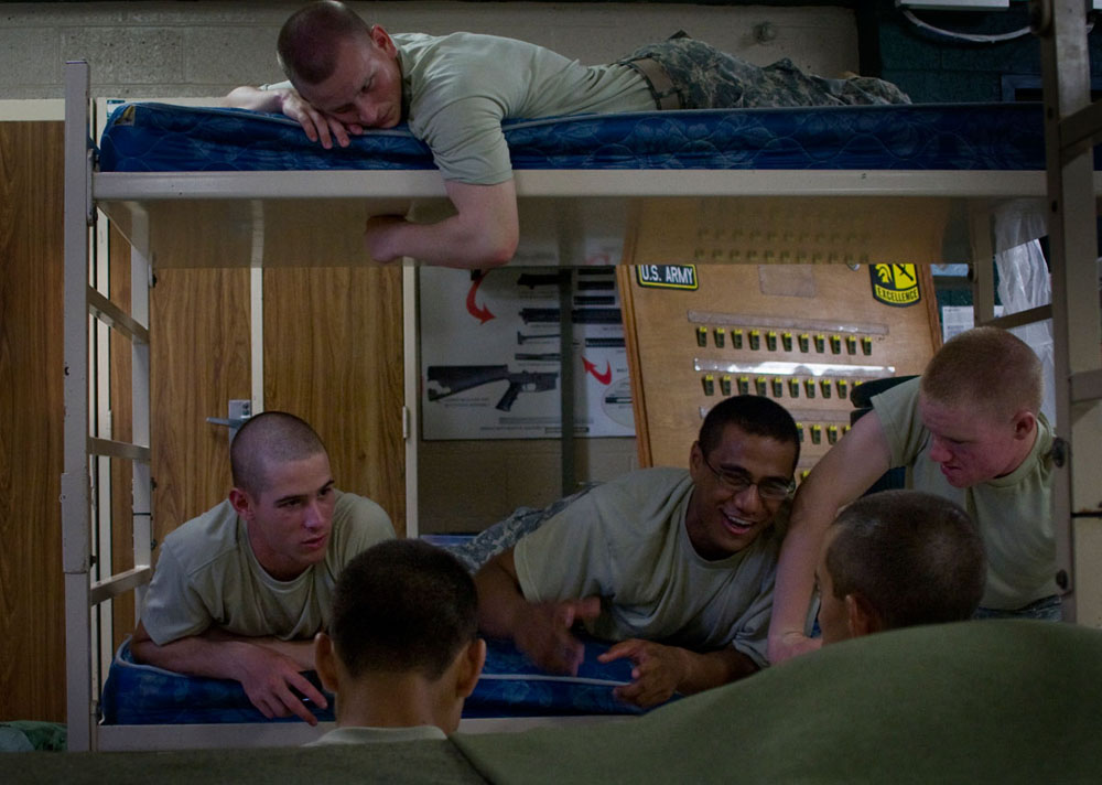Cadets relax with each other in their barracks during their personal time July 28. Cadets were given one hour of personal time most nights before lights out at 10 p.m.