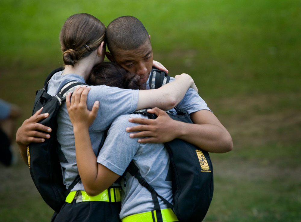After learning of the death of fellow cadet Carmela Kirkland, cadets comfort each other outside the company barracks. Kirkland died the night before at University Hospital in Louisville from complications due to a lightning strike four days earlier at a training site. Kirkland, 18, from Dothan, Ala., planned to start classes at Marion Military Institute in the fall.