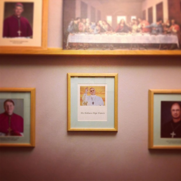 "March 14  ""Pope Francis is already hanging on the wall."" This picture was hanging in a hall in the seminary one day after Jorge Mario Bergoglio became Pope Francis."