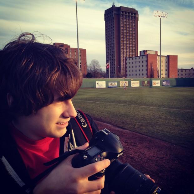Shooting a baseball game with one of my staff photographers, Brandon.