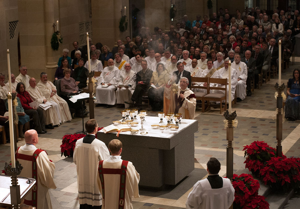 Bishop Salvatore R. Matano incenses the altar while celebrating communion during his installation Mass Jan. 3 at Sacred Heart Cathedral in Rochester.