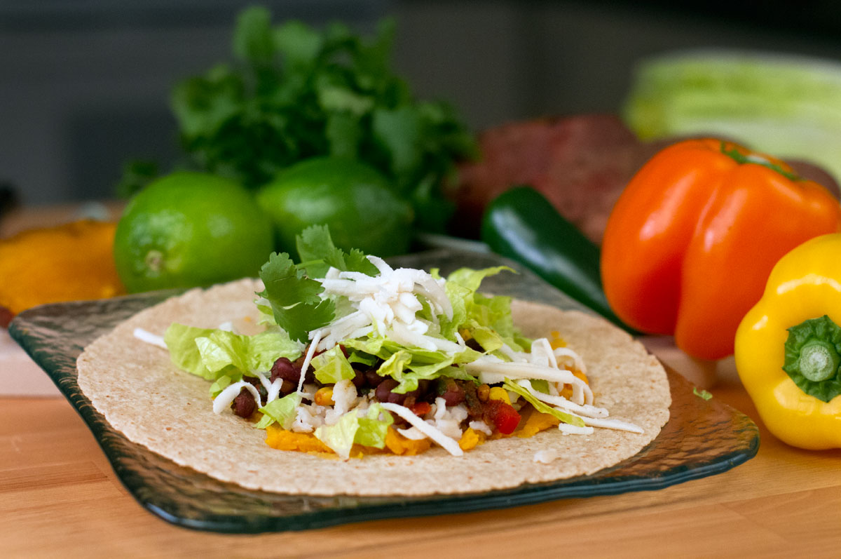 Black bean and corn tacos are a fast, easy-to-prepare option for meatless meals during Lent.