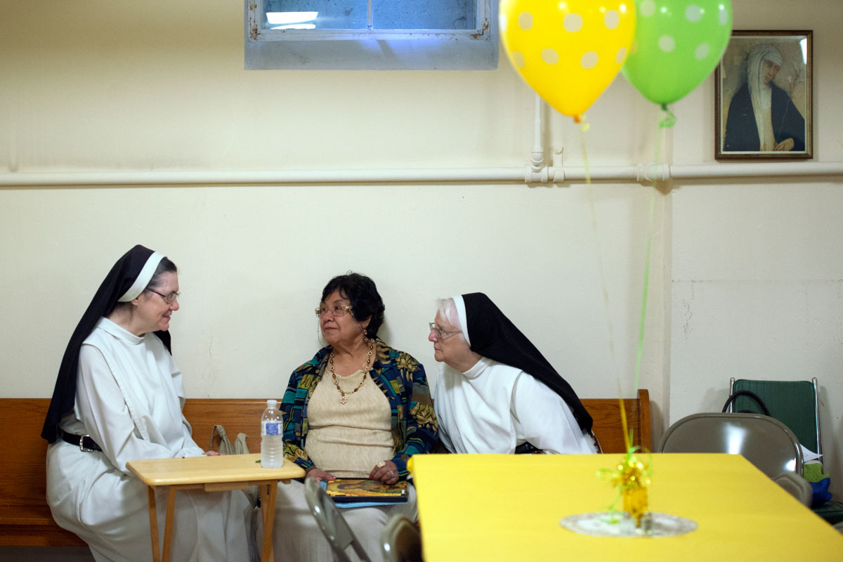 Sister Mary of Jesus (from left) visits with Gloria Messemer and Sister Marie Grace during a luncheon to celebrate the 70th anniversary of  the Dominican Monastery of Mary the Queen in Elmira Aug. 16. Messemer and Grace were both visiting from the Bronx. Sister Mary of Jesus and several other sisters moved from the Bronx to Elmira seven years ago.