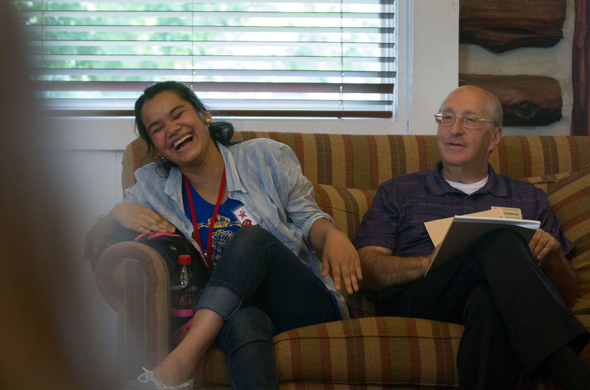 Rose Mar (left) of Bowling Green laughs while Jim Fulkerson leads his Musical Troupe class in activities to get to know each other on the first day of SCATS classes June 8 in the Faculty House. Jim has been teaching SCATS classes for 27 years.