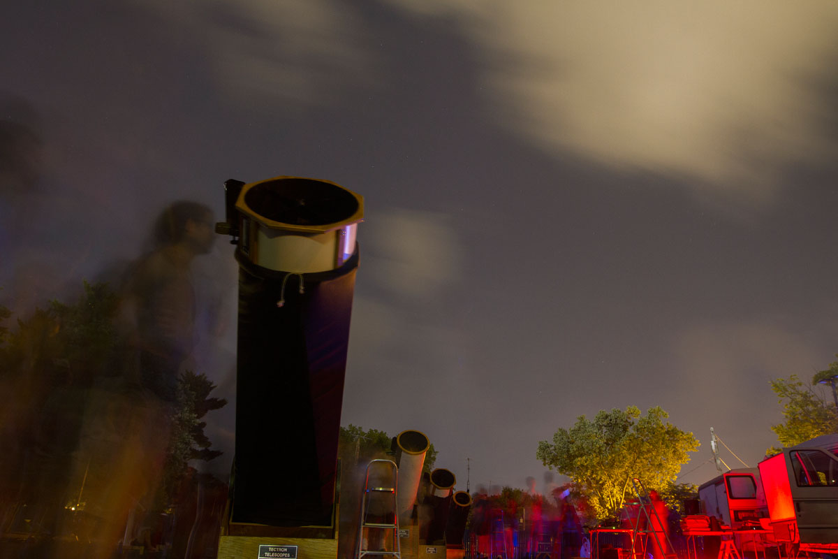 VAMPY campers look at Saturn and a variety of star formations through telescopes during a stargazing party July 6, 2015 at Western Kentucky University. Astronomy students helped position the telescopes for other students to use.