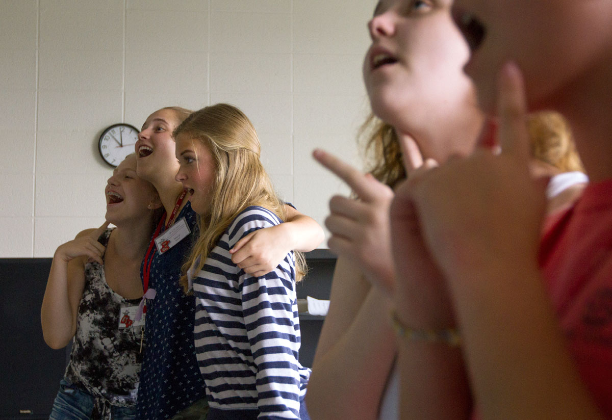 Evie Ellis (from left) of Russellville, Mary Baker of Paducah, and Anna Maddux of Pembroke rehearse a song during Singing 101 Tuesday, June 21.